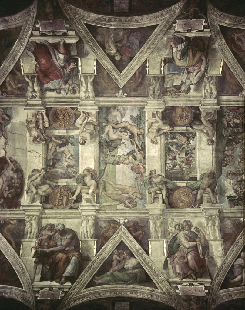 Stock Photo: 262-1539 Sacrifice of Noah, Expulsion, Creation of Eve  Michelangelo Buonarroti (1475-1564/Italian)  Fresco  Sistine Chapel, Vatican