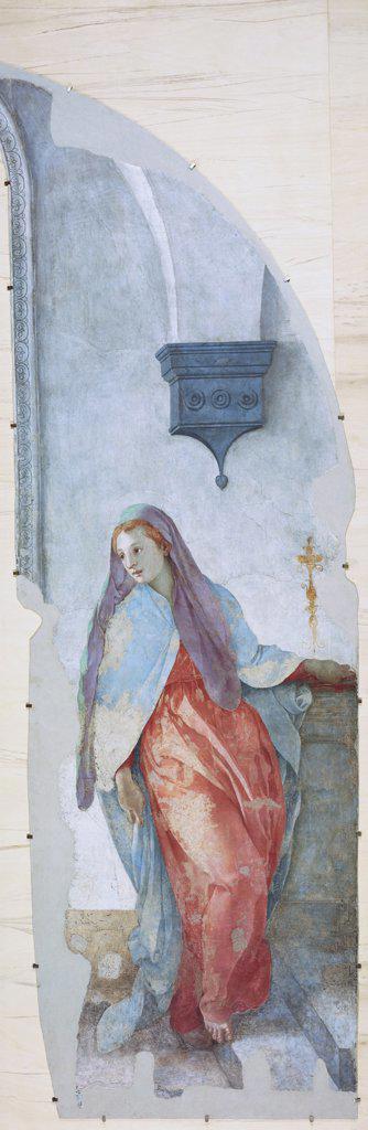 Annunciation - Virgin  C. 1528 Pontormo, Jacopo(1494-1557 Italian) Fresco Capponi Chapel, Santa Felicita, Florence, Italy  : Stock Photo