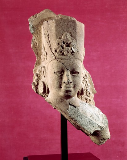 Stock Photo: 262-1699 Bust of Surya,  Sri Deb Style,  Cambodian Art,  Sandstone,  7th-8th Century,  Private Collection
