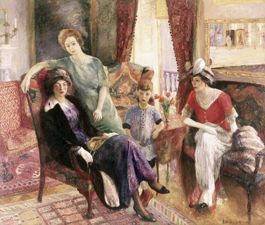 Stock Photo: 262-1820 Family group, by William James Glackens (1870-1938), oil on canvas