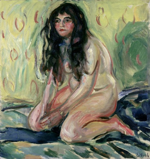 Stock Photo: 262-1836 Kneeling Nude by Edvard Munch, oil on canvas,, 1863-1944