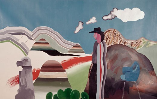 Stock Photo: 262-1850 Picture Of Rocky Mountains With Tired Indians by David Hockney
