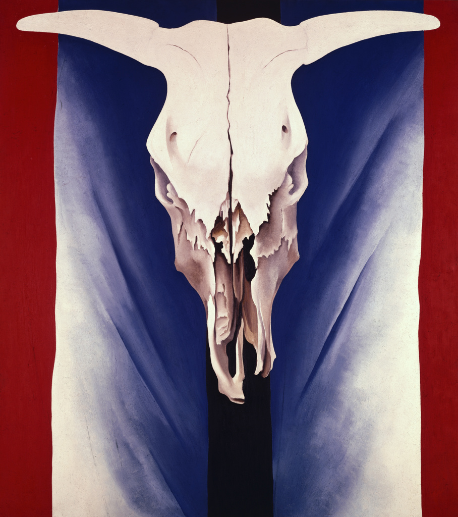 Stock Photo: 262-1859 Cow's Skull: Red, White and Blue by Georgia O'Keeffe, oil on canvas, 1887-1986