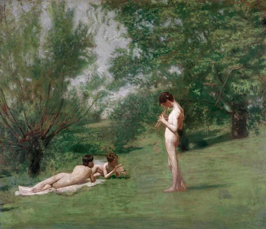 Stock Photo: 262-1868 Arcadia ca. 1883 Thomas Eakins (1844-1916 American) Oil on canvas
