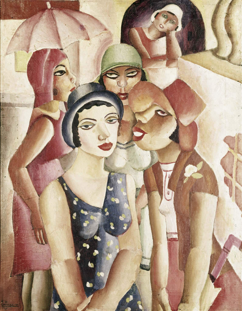 Stock Photo: 262-1942 Cinco Mocas de Guaratingueta by Emiliano di Cavalcanti, oil on canvas,, 1930, 1897-1976