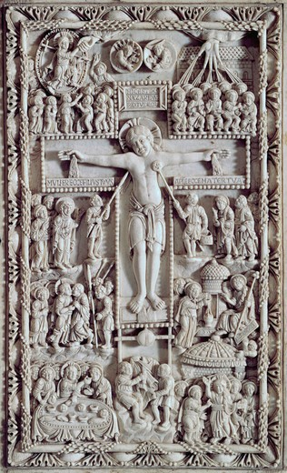 Stock Photo: 262-1995 Carolingion Crucifixion 9th Century Artist Unknown Ivory Cathedral of St. Just, Narbonne, France