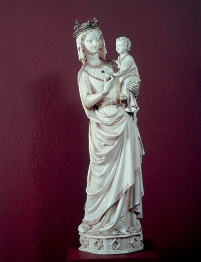 Virgin and Child ca. 1300 Ivory Musee de Louvre, Paris, France : Stock Photo