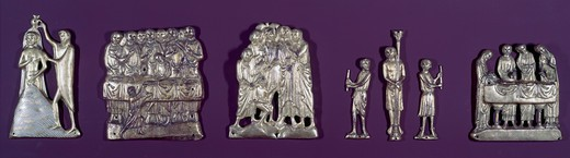 Stock Photo: 262-2001 Life Of Christ: Five Groups Of Relief Applique 13th Century Limoges Gilt Copper
