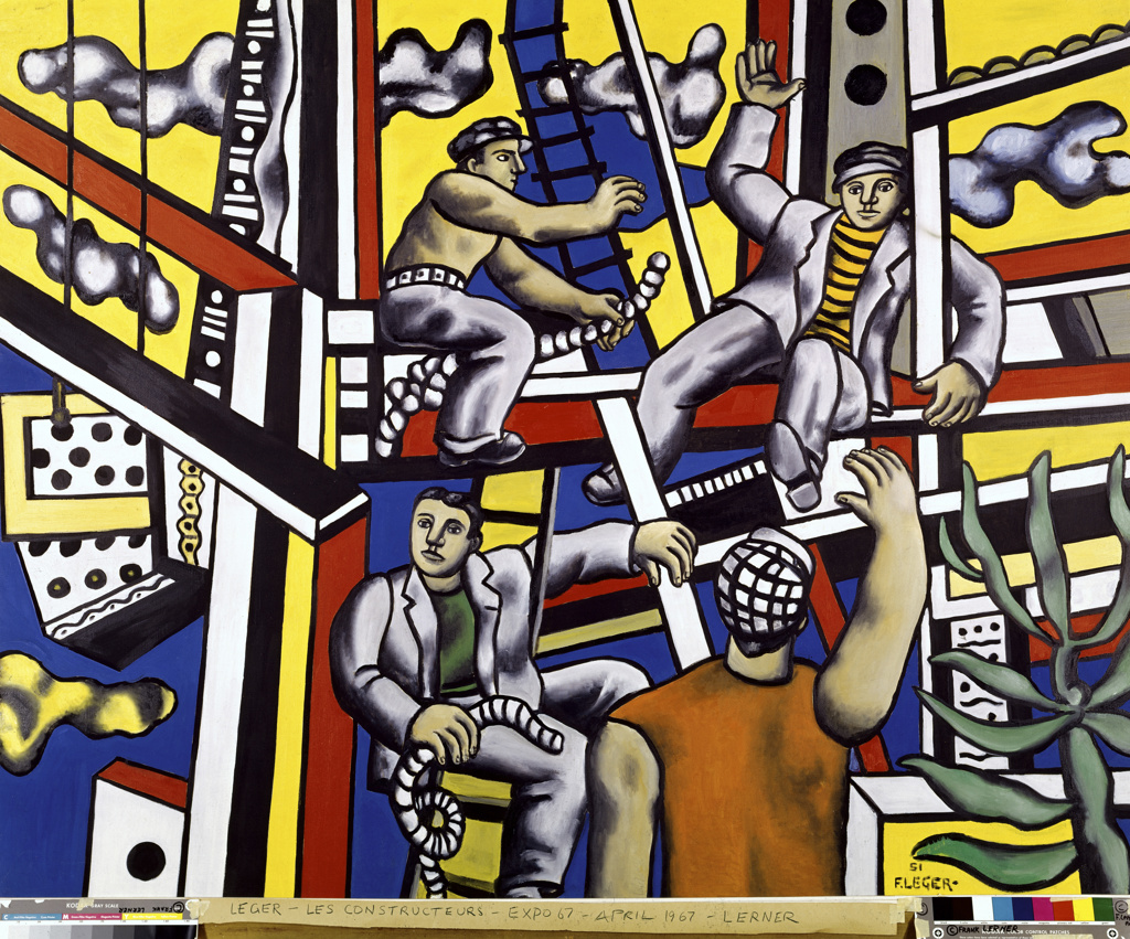 Construction Workers by Fernand Leger, 1951, (1881-1955 : Stock Photo