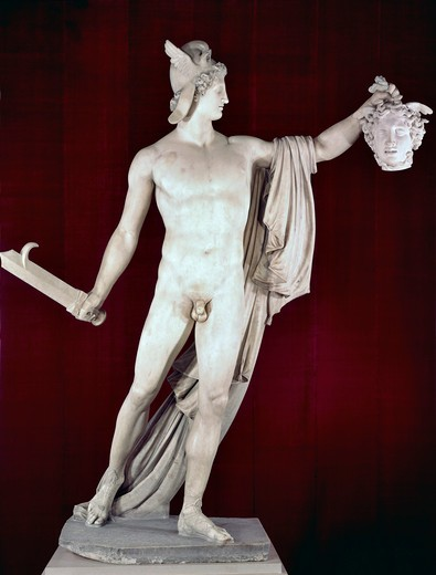 Stock Photo: 262-2064 Perseus With The Head Of Medusa 1806-08 Antonio Canova (1757-1822 Italian) Marble Sculpture Metropolitan Museum of Art, New York, USA