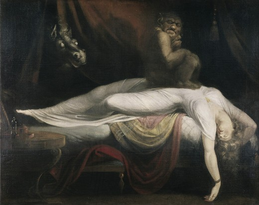 Stock Photo: 262-2077 The Nightmare 1781 Henry Fuseli (1741-1825 Swiss) Oil on canvas Detroit Institute of Arts, Michigan, USA