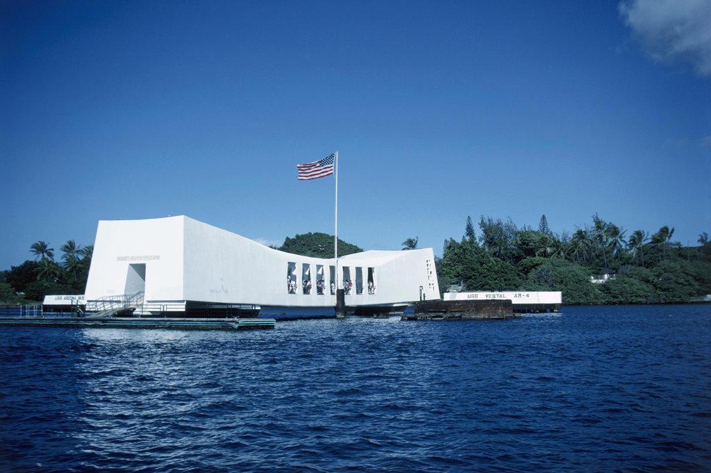 Stock Photo: 2624-590124 USS Arizona Memorial Oahu Hawaii USA