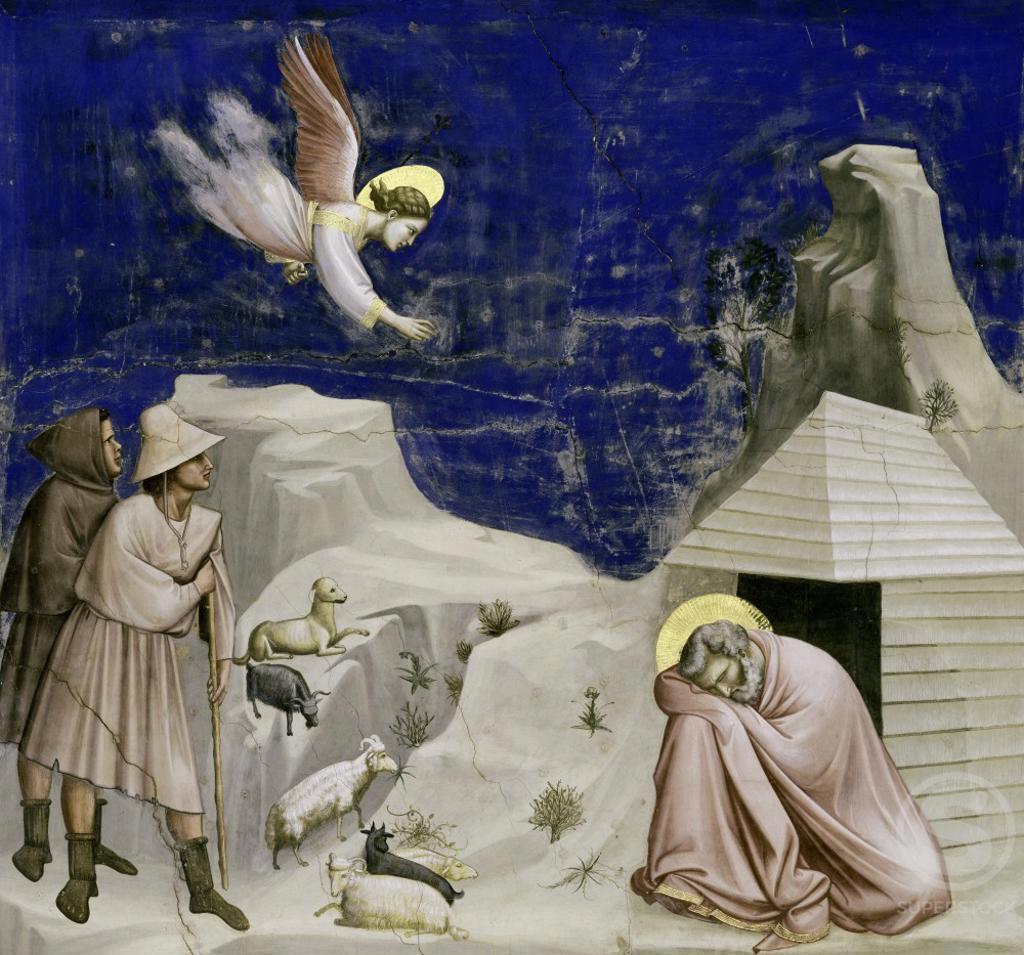 Joseph's Dream  c. 1305-1313,  Giotto di Bondone c. 1266-1337 Florentine  Fresco  Arena Chapel, Cappella degli Scrovegni, Padua  : Stock Photo