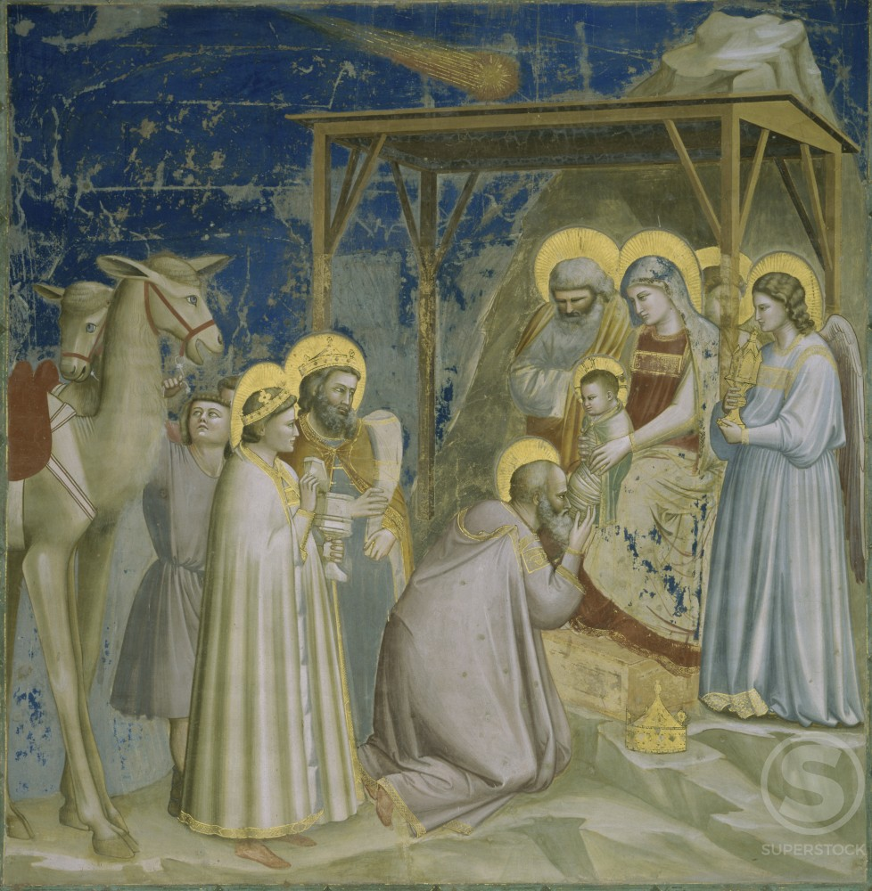 ADORATION OF THE MAGI FRESCO Giotto di Bondone ca.1266 d1337 Italian Arena Chapel  : Stock Photo