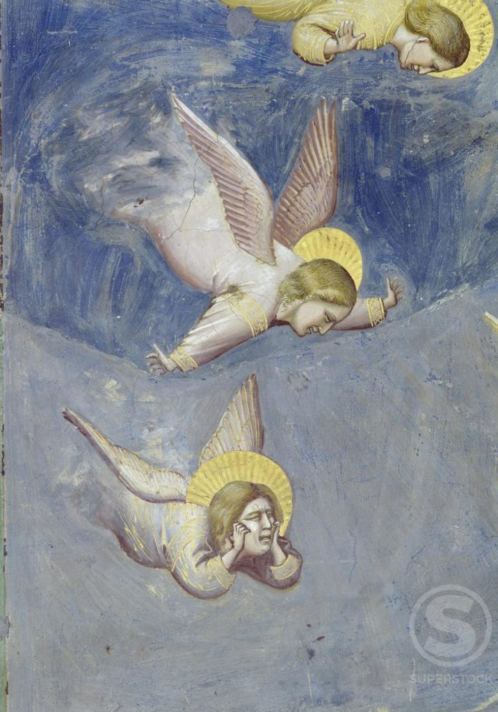 The Lamentation (Detail) Giotto di Bondone (c.1266-1337/Italian) Fresco Arena Chapel, Padua, Italy : Stock Photo