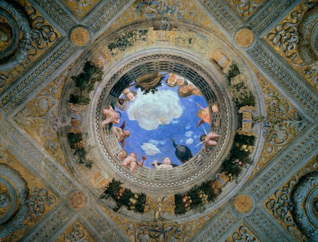Stock Photo: 263-326 Camera degli Sposi: Ceiling Oculus ca. 1474 Andrea Mantegna (1431-1506 Italian) Fresco Palazzo Ducale, Mantua, Italy
