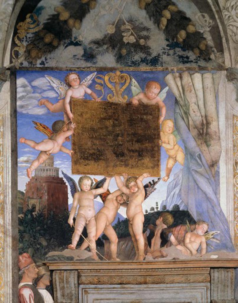 Stock Photo: 263-327 Camera Degli Sposi : Holding Dedicatory Tablet Andrea Mantegna (1431-1506 Italian) Palazzo Ducale, Mantua, Italy