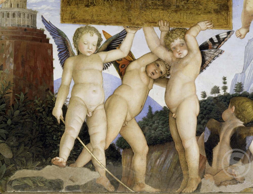 Stock Photo: 263-329 Camera degli Sposi:  Putti Holding Tablet  (Detail) 