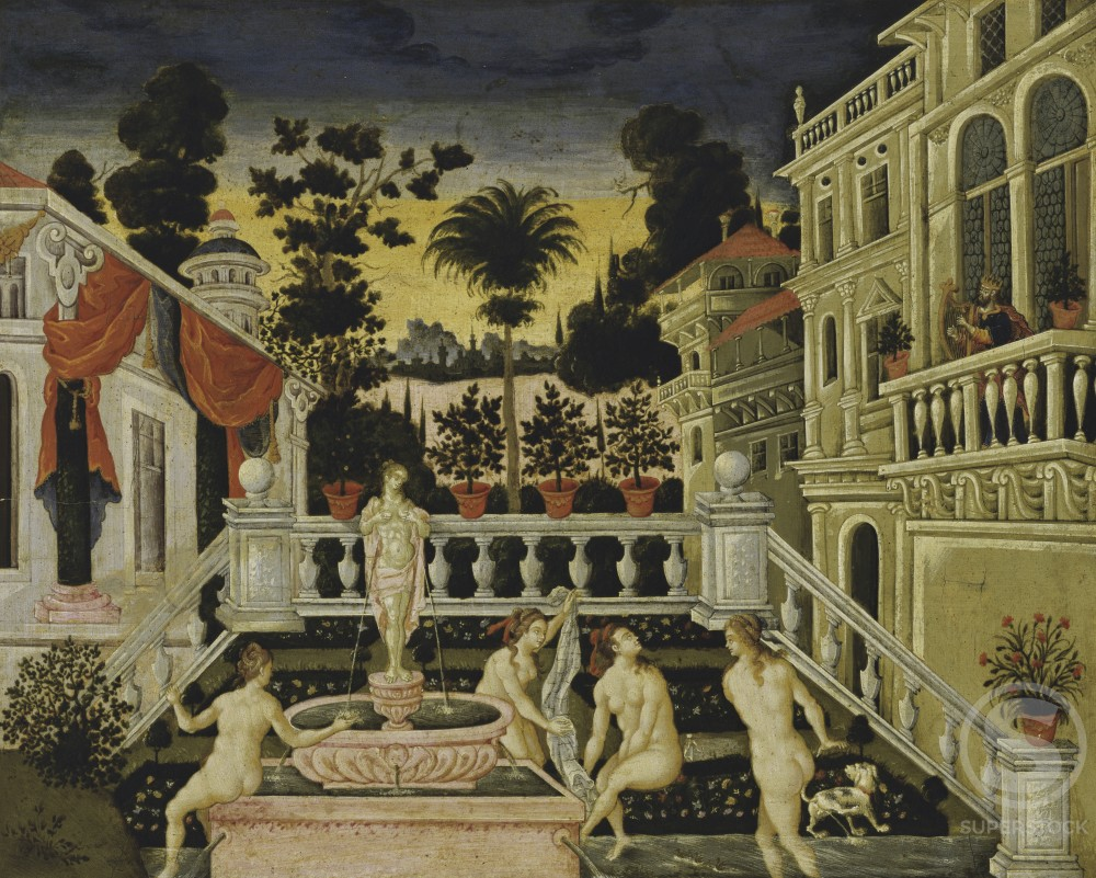 Stock Photo: 263-341 David and Bathsheba Bathe Theodoros Pulakis (ac. 1650 Greek) Correr Civic Museum, Venice