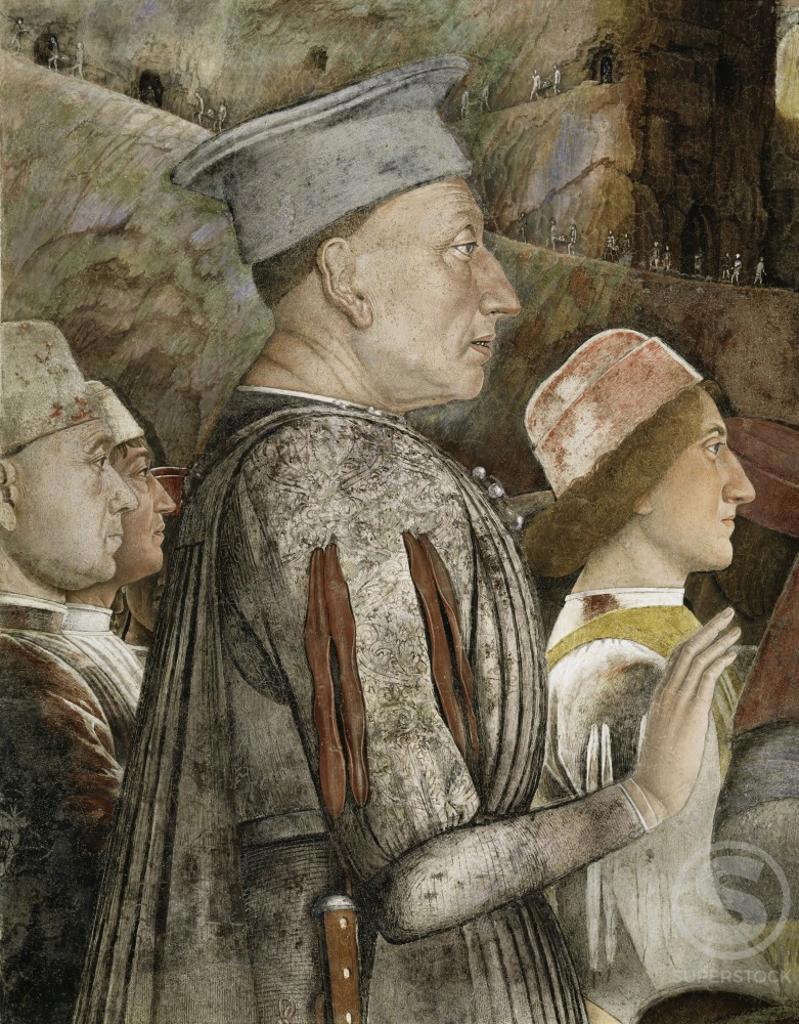 Stock Photo: 263-360 CAMERA DEGLI SPOSI:THE MEETING (DETAIL OF LUDOVICO III) FRESCO Mantegna, Andrea 1431 d1506 Italian Palazzo Ducale, Mantua, Italy