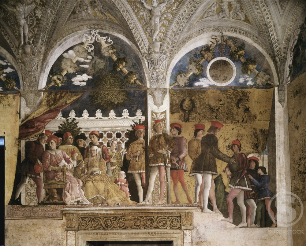 Stock Photo: 263-361 Bedroom of the Wife: North Wall -The Court (Detail) 