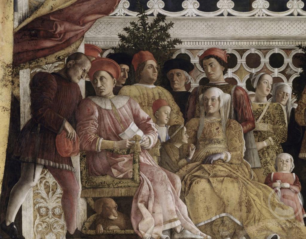 Stock Photo: 263-362 Camera degli Sposi:  The Court  1474 Andrea Mantegna (1431-1506 Italian) Fresco   Palazzo Ducale, Mantua, Italy
