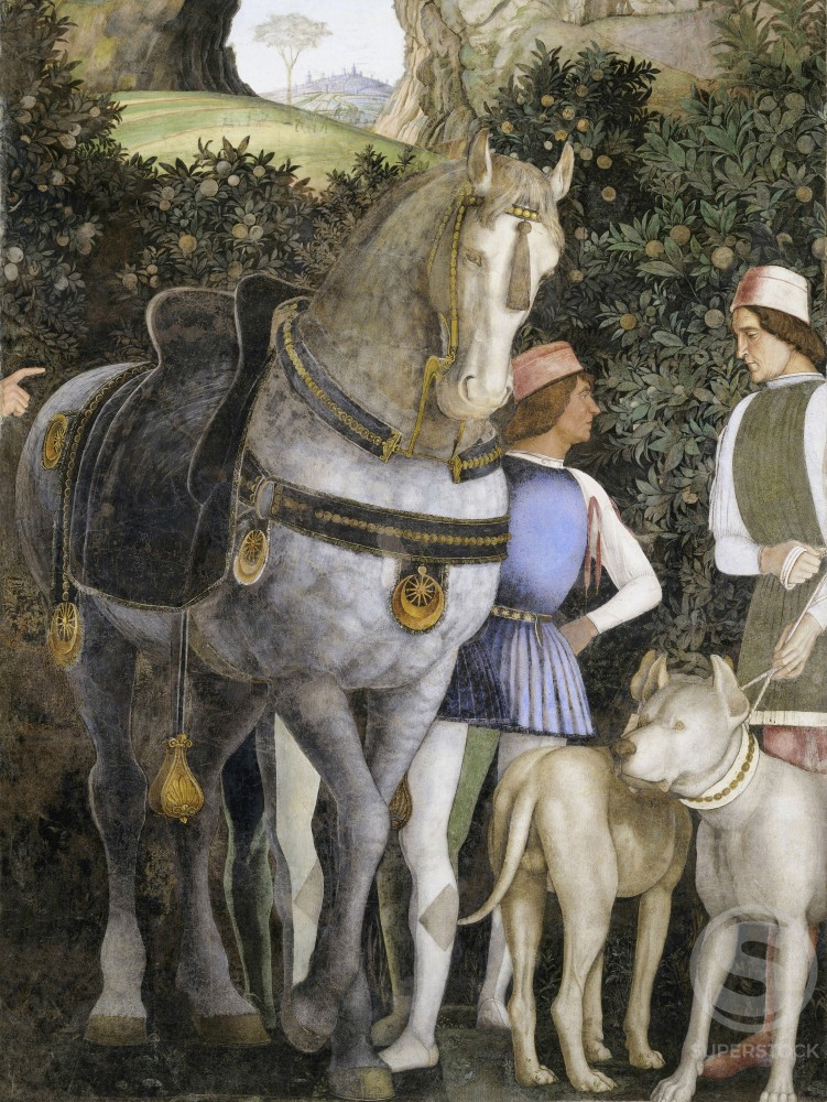 Stock Photo: 263-363 Camera degli Sposi: Grooms with Horse and Two Dogs (Detail)