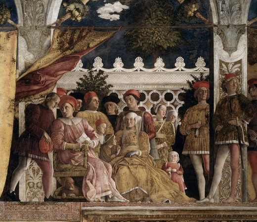 Camera Degli Sposi: The Court, Andrea Mantegna, (1431-1506 Italian), Fresco, Palazzo Ducale, Mantua, Italy : Stock Photo
