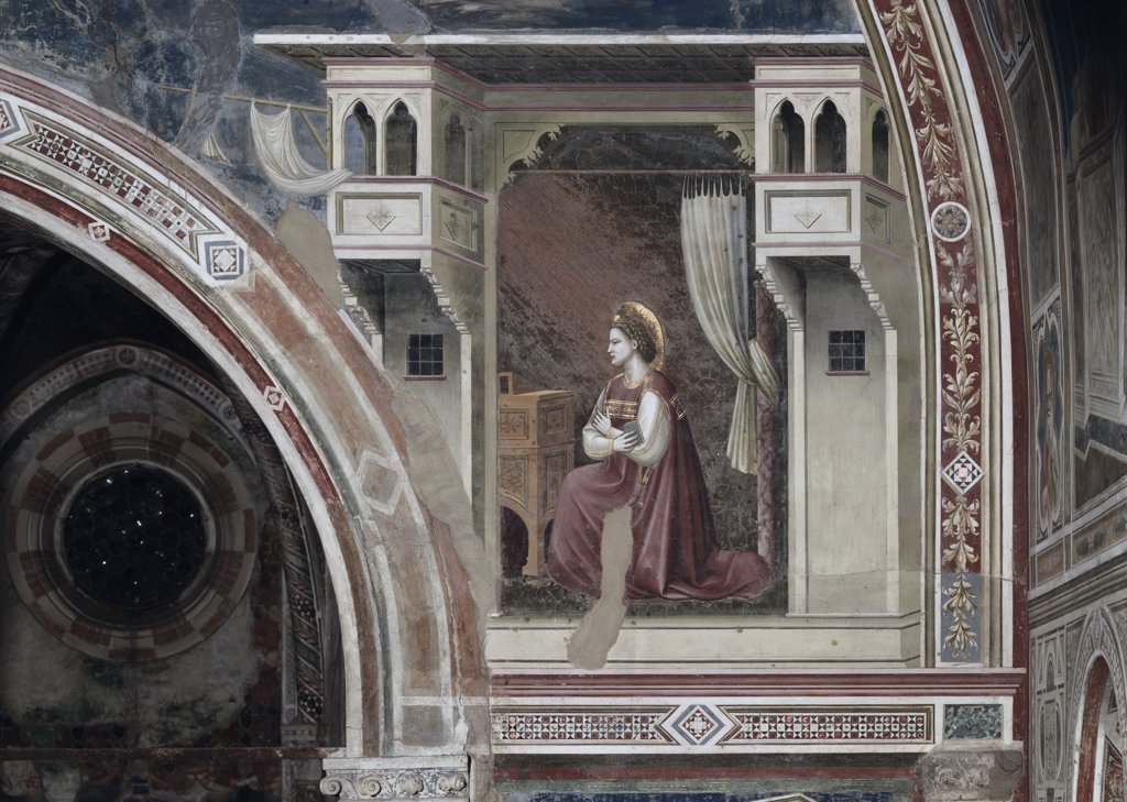 The Annunciation-Detail C.1305-13 Giotto(ca.1266-1337 Italian) Fresco Capella Scrovegni, Padua, Italy  : Stock Photo