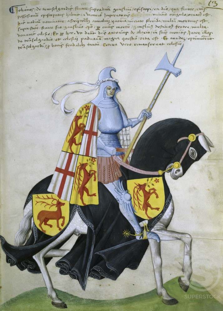 Stock Photo: 263-439 Female Knight and Black Horse:  Capodilista Codex