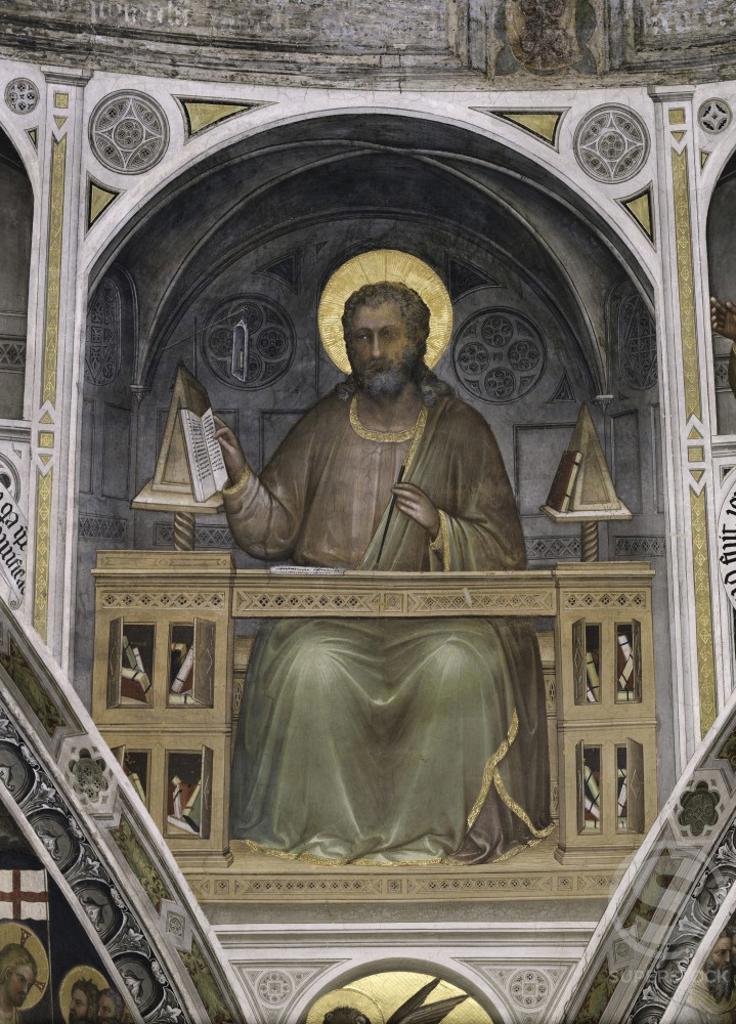 SAINT MARK FRESCO Menabuoi, Giusto di Giovanni d d1393? Italian Baptistry of the Cathedral, Padua  : Stock Photo
