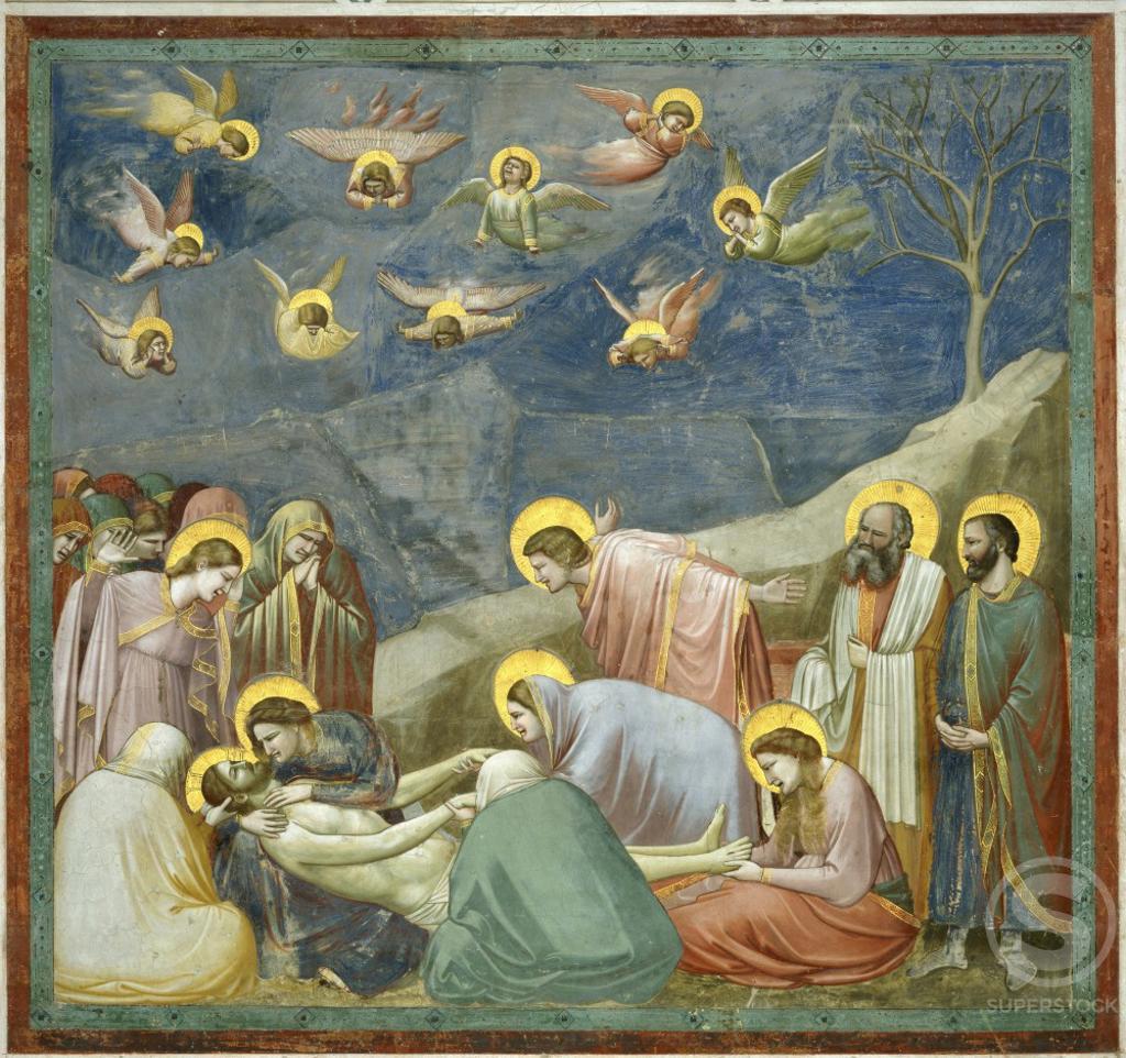 Stock Photo: 263-45 The Lamentation  1304-06 Giotto (ca. 1266-1337 Italian)  Fresco  Capella degli Scrovegni, Padua, Italy