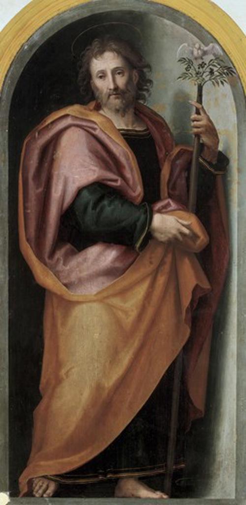 Holy Joseph Giovanni Antonio Sogliani (1492-1544/Italian) Pinacoteca, Volterra  : Stock Photo