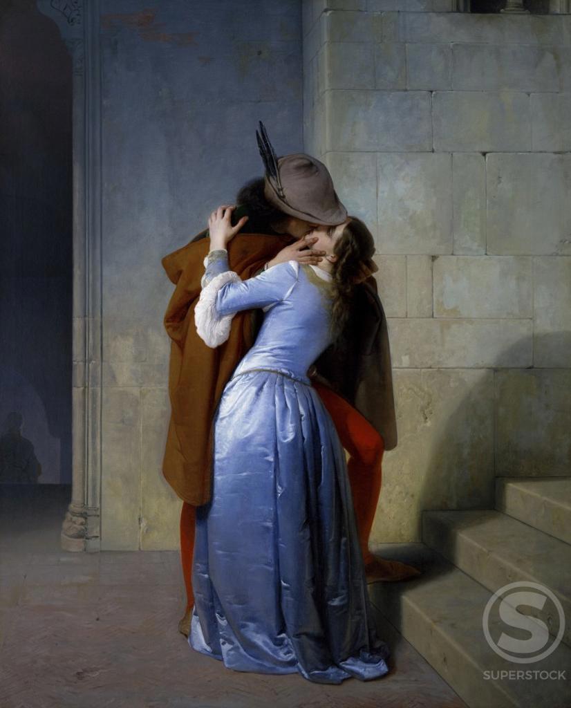 The Kiss  Francesco Hayez (1791-1882/Italian) Oil on canvas   Pinacoteca di Brera, Milan   : Stock Photo