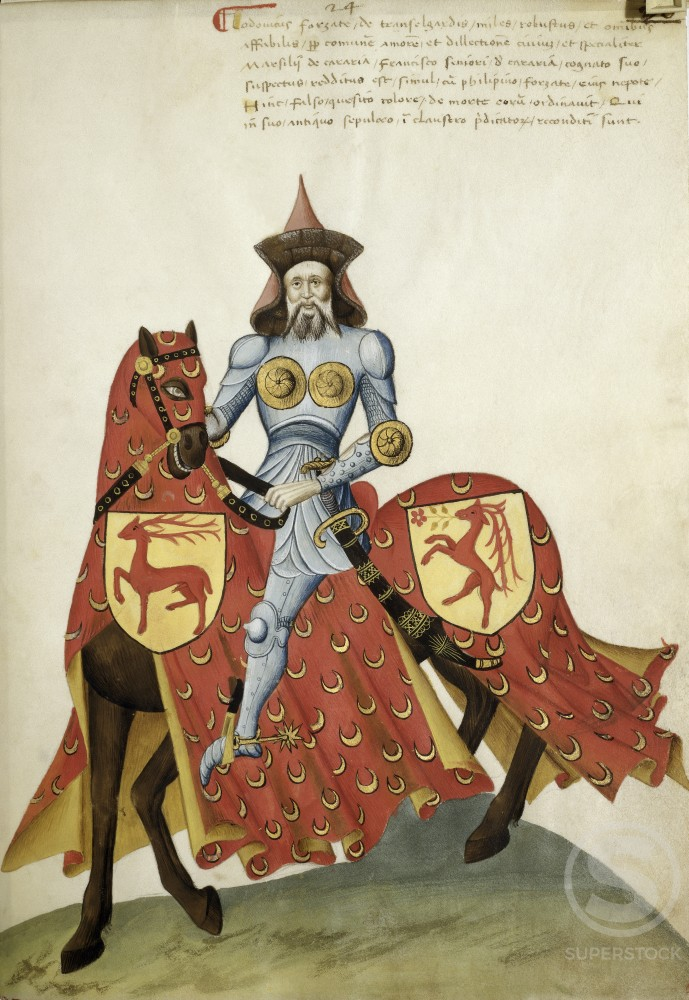 Stock Photo: 263-521 Capodilista Codex: Knight with Chest Protector Riding on Red Horse