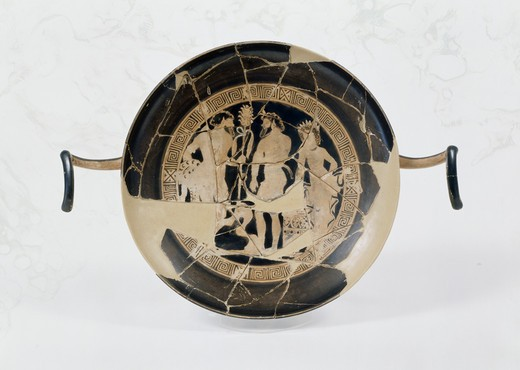 Kylix Vase: Three Figures-Barbaric Satyr with Kill in Left Hand, Another Satyr & Menade Facing Him