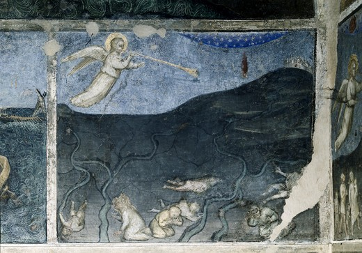 Stock Photo: 263-563 Fourth Angel with the Trumphet and the Darkening of the Stars of the Earth  From Apocalypse