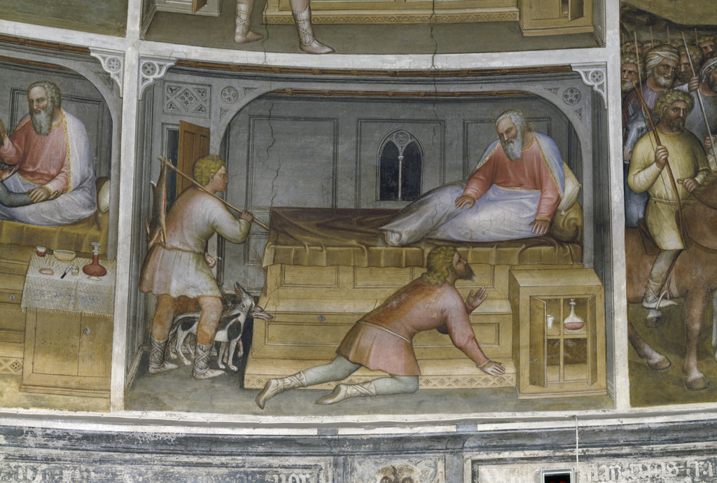 Stock Photo: 263-576 Esau Comes Back from the Hunt,  from Scenes from the Old Testament by Giusto de' Menabuoi,  fresco,  (Circa 1320 ?1391),  Italy,  Padua,  Padua Cathedral,  Baptistery