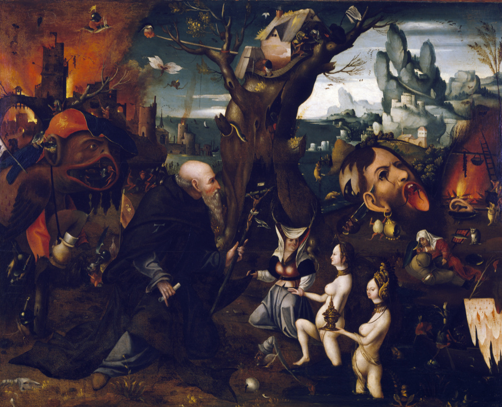 Stock Photo: 263-588 Temptation of Saint Anthony by Herri met de Bles (Circa 1510-1560),  oil on canvas,  Italy,  Venice,  Correr Civic Museum