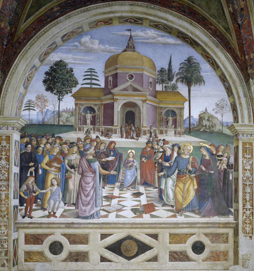 Stock Photo: 263-596 Presentation at the Temple by Bernardino di Betto,  fresco,  (Circa 1454?1513),  Italy,  Perugia Province,  Spello,  Church of Santa Maria Maggiore,  Baglioni Chapel