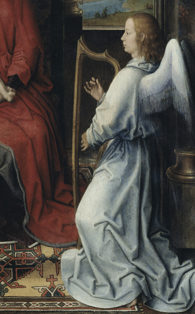 Stock Photo: 263-609 Detail form Madonna and Child with Two Angels by Hans Memling,  oil on wood,  (Circa 1433-1494),  Italy,  Florence,  Galleria degli Uffizi