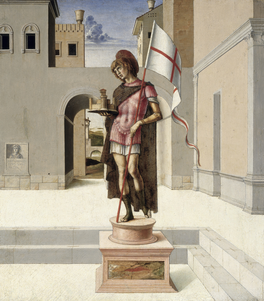 Saint from the Pala by Giovanni Bellini,  tempera on wood,  (Circa 1430-1516),  Italy,  Urbino Province,  Pesaro,  Civic Museum : Stock Photo