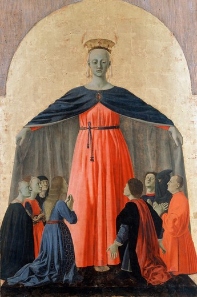 Stock Photo: 263-619 Madonna of Mercy Piero della Francesca (1410/20-1492 Italian) Civic Museum, Sansepolcro, Italy