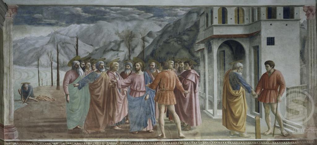 Stock Photo: 263-651 Payment of Tribute  Masaccio (1401-1428/ Florentine)  The Brancacci Chapel, Santa Maria del Carmine, Florence