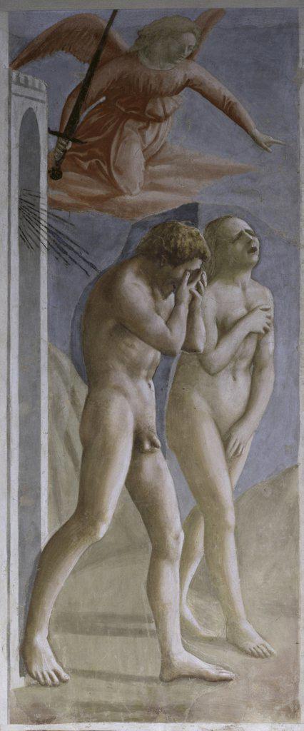Stock Photo: 263-652 Expulsion from Paradise  Masaccio (1401-c.1428/ Florentine)  The Brancacci Chapel, Santa Maria del Carmine, Florence