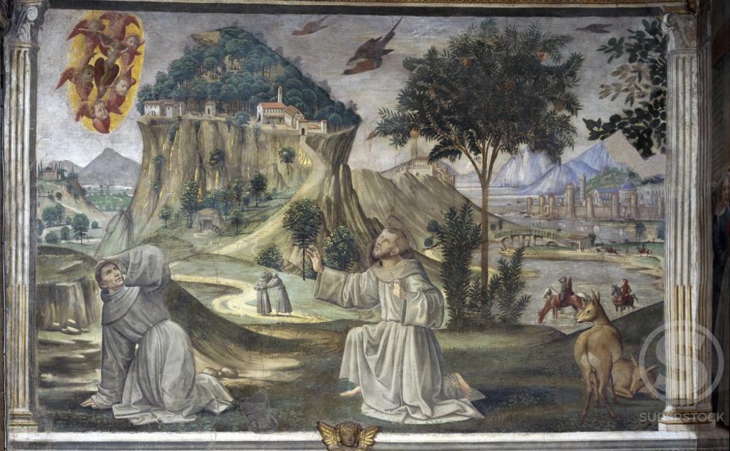 Saint Francis Receives the Stigmata  Domenico Ghirlandaio (1449-1494/ Florentine)  Chapel Sassetti, Saint Trinity, Florence  : Stock Photo