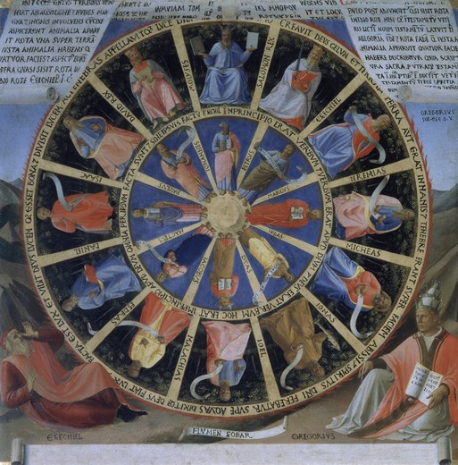 The Story of the Life of Christ Detail - Prophets, Apostles and Saints Fra Giovanni Da F. Angelico (1387-1455 Italian) Museo di San Marco, Florence, Italy  : Stock Photo