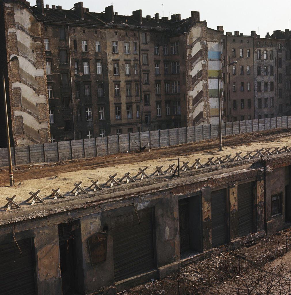 Abandoned buildings along a street, Bernauer Street, Berlin, Germany : Stock Photo