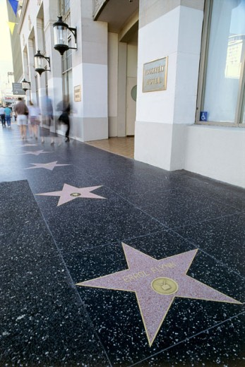 Stock Photo: 271-244E Tourists walking on a street, Walk of Fame, Hollywood, Los Angeles, California, USA