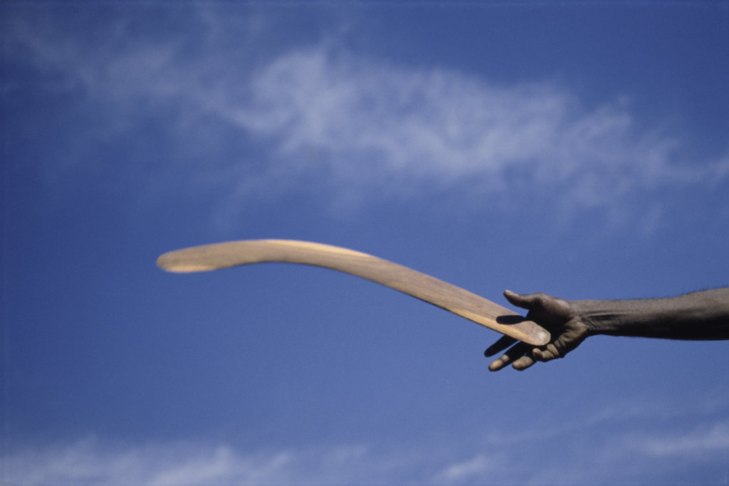 Stock Photo: 2752-537769 Throwing Non- Return, Fighting Boomerang, Australia